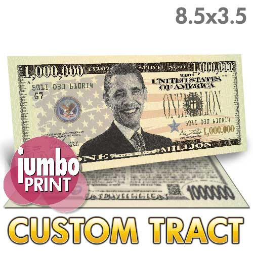 Custom Tract - Obama Million Dollar Bill (Jumbo)