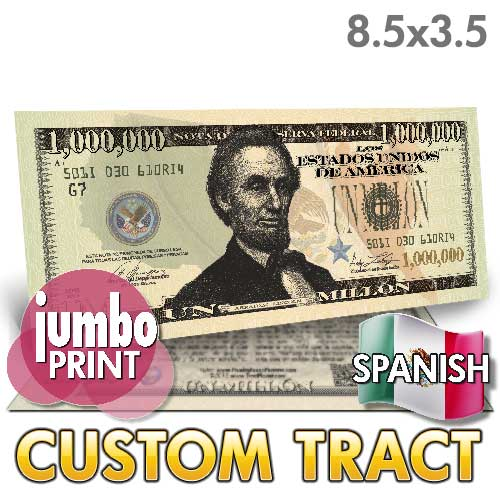 Custom Tract - Spanish Million Dollar Bill (Lincoln Jumbo)