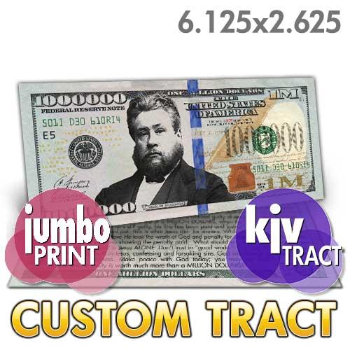 Custom Tract Spurgeon Million Dollar Bill Kjv