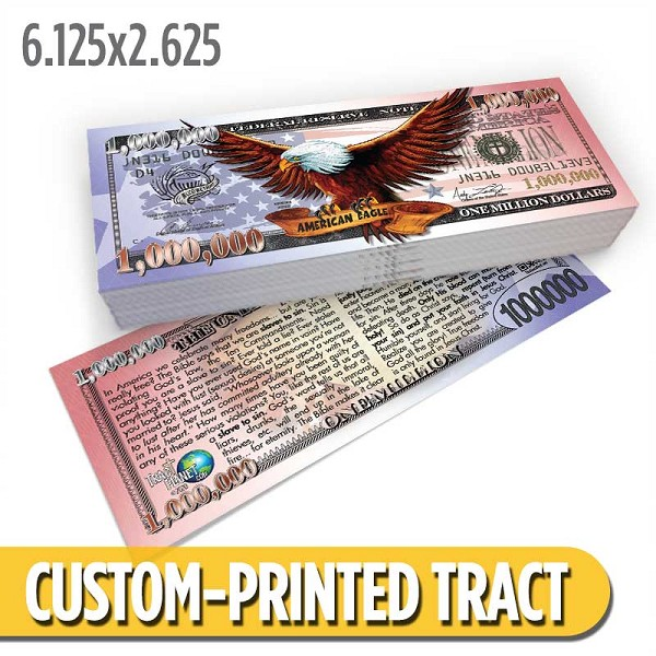 Custom 'Freedom Cash Million Dollar Bill' Gospel Tracts (6.125x2.625)