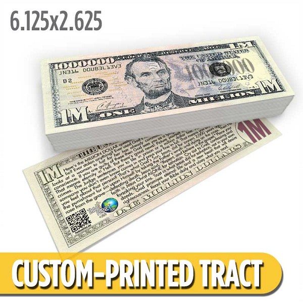 Custom 'Lincoln Million Dollar Bill' Gospel Tracts (6.125x2.625)