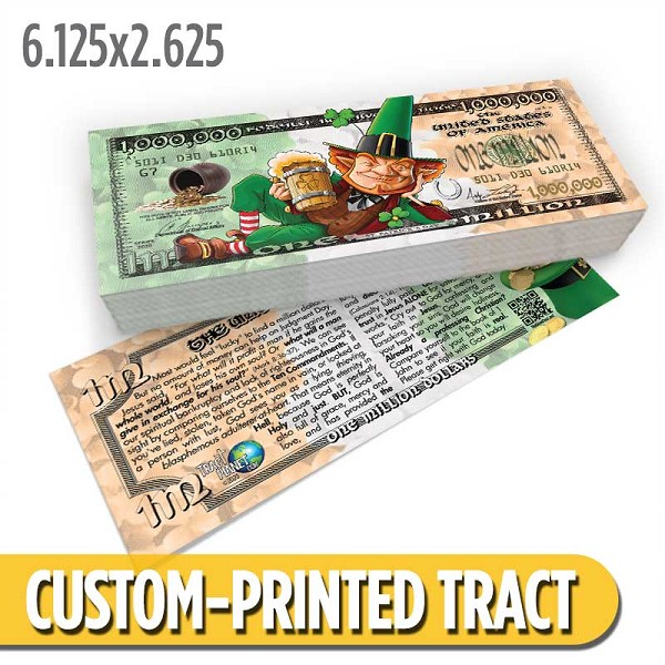 Custom 'Lucky Bucks Million Dollar Bill' Gospel Tracts (6.125x2.625)