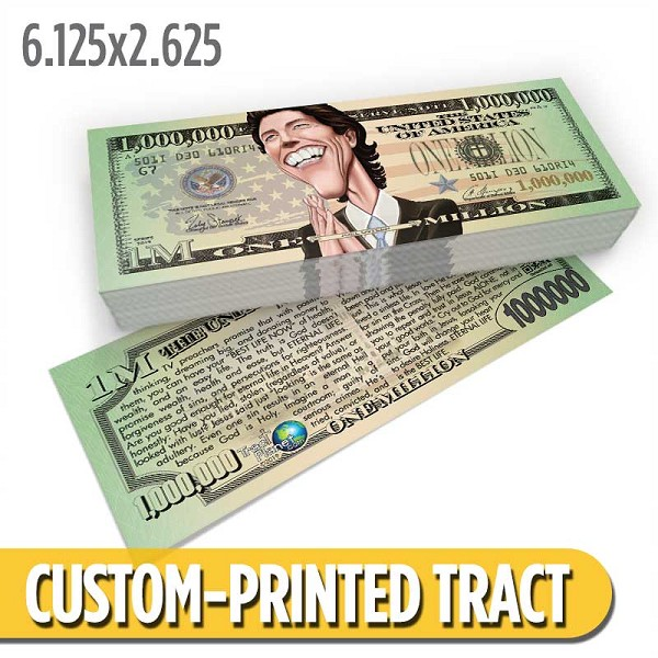 Custom 'Joel Osteen Million Dollar Bill' Gospel Tracts (6.125x2.625)