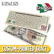 Custom 'Spanish Lincoln Million Dollar Bill' Gospel Tracts (6.125x2.625)