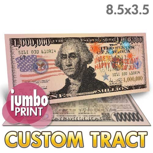 Custom '4th of July Washington Jumbo Million Dollar Bill' Tract (8.5x3.5)