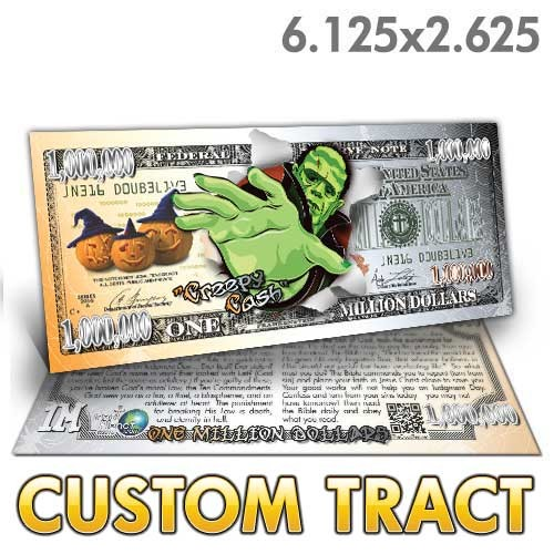 Custom 'Creepy Cash Million Dollar Bill' tracts (6.25x2.625)